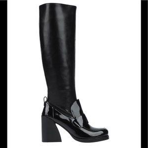 Jeffrey Campbell Black Loafer Heel Boots SZ 7/37